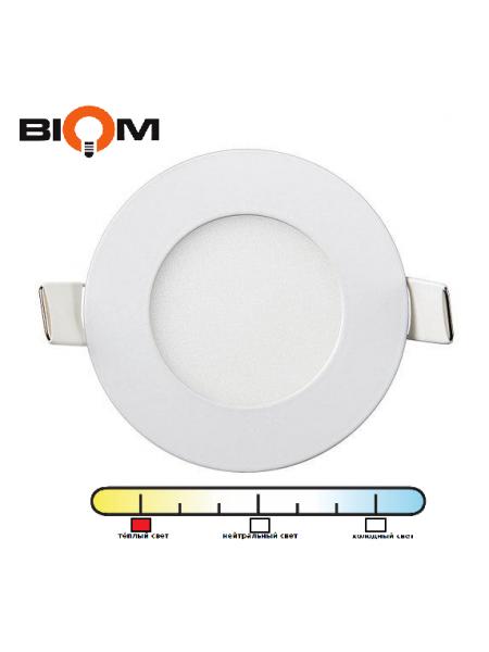 Светильник светодиодный Biom PL-R6 WW 6Вт круглый теплый белый/белый